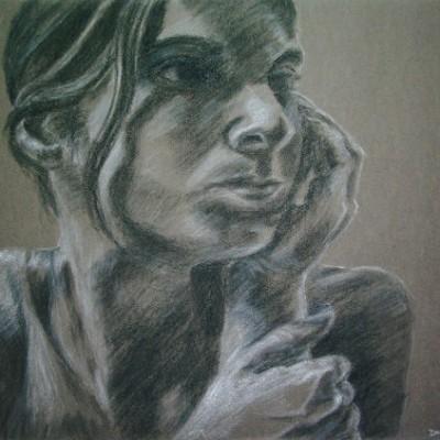 Self-Portrait chalk charcoal 2004 gallery © Dana Batho