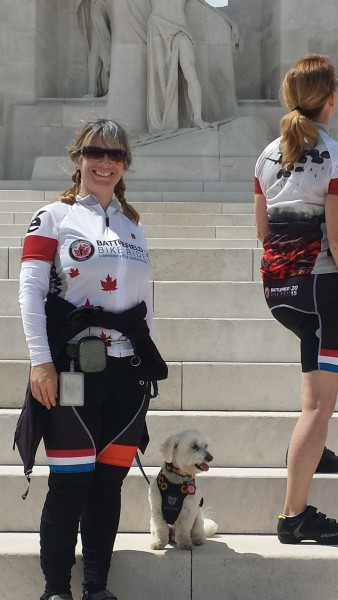 Starting the Wounded Warriors Canada Battlefield Bike Ride 2015 at Vimy Ridge Memorial, France. Training around my limitations was very challenging, but I did it.