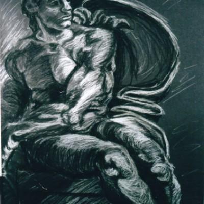 Sistine 1 chalk charcoal 1999 gallery © Dana Batho