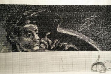 Progress on my Michelangelo cross stitch