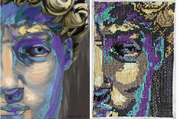"""David"" painting and cross stitch, 5x7"", 2014"
