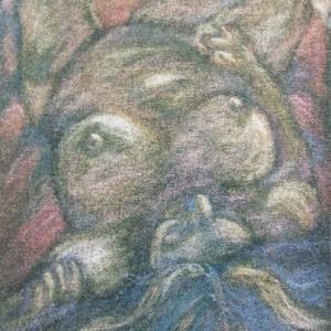"Lying figure, Oil pastel on fabric, 7x12"", 1999 gallery © Dana Batho"