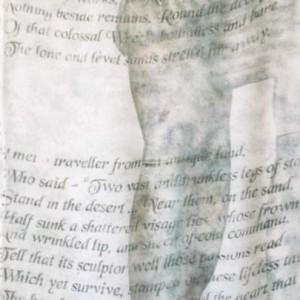 "Ozymandias (detail), Hand-printed silk georgette scarf, 14x60"", 1999 gallery © Dana Batho"