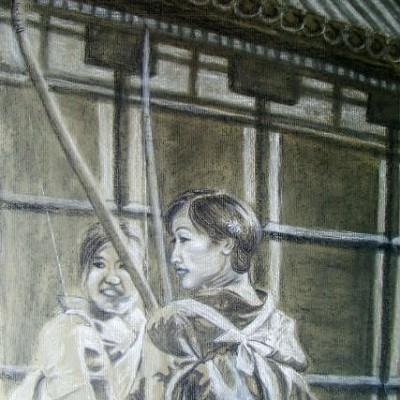 Toshiya Festival chalk charcoal 2004 gallery © Dana Batho