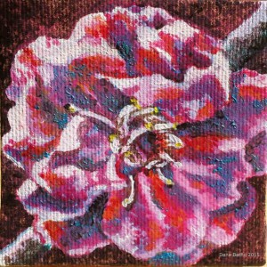 "Flower 1, Oil on canvas, 3""x3"", 2015 Dana Batho"