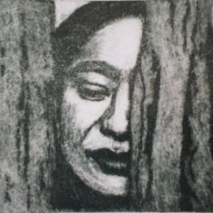 "Peace II, Aqua-mezzotint print, 3x6"", 1998 gallery © Dana Batho"