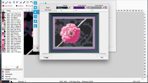 MacStitch software — pattern export demonstration