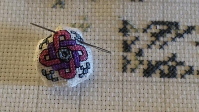 Mini biscornu needleminder and pincushion