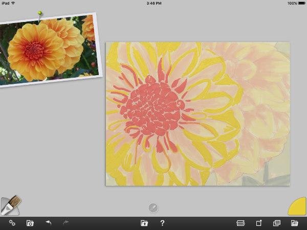In progress, yellow flowers, digital oil paint ArtRage