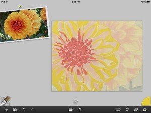 Yellow dahlia painting in progress - ArtRage - floral cross stitch designs