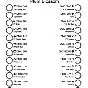Plum Blossom cross stitch pattern thread sorter