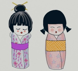 kokeshi doll digital art Dana Batho