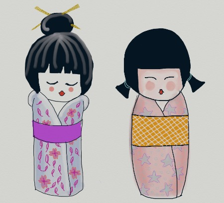 Kokeshi doll digital drawing - using ArtRage