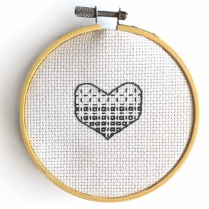 Blackwork Heart needlepoint pattern - how to frame cross stitch