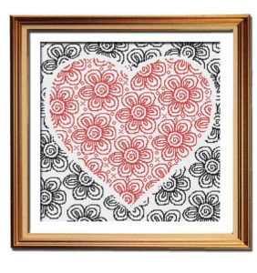 Flowers of Love cross stitch pattern framed