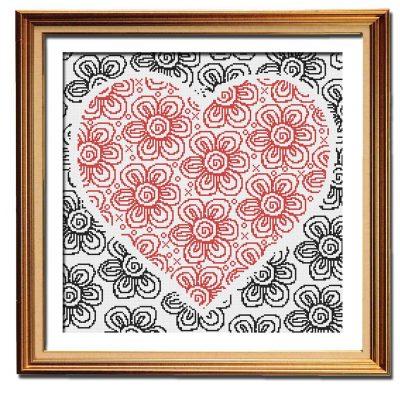 Flowers of Love cross stitch pattern framed