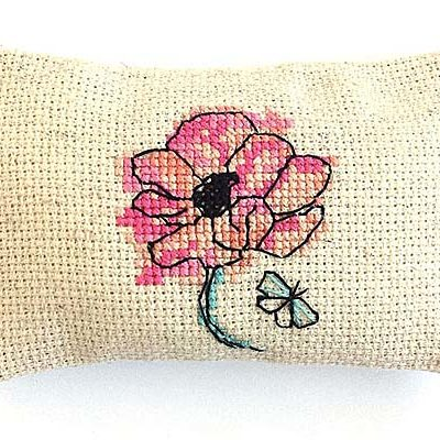 Papillon pincushion cute cross stitch
