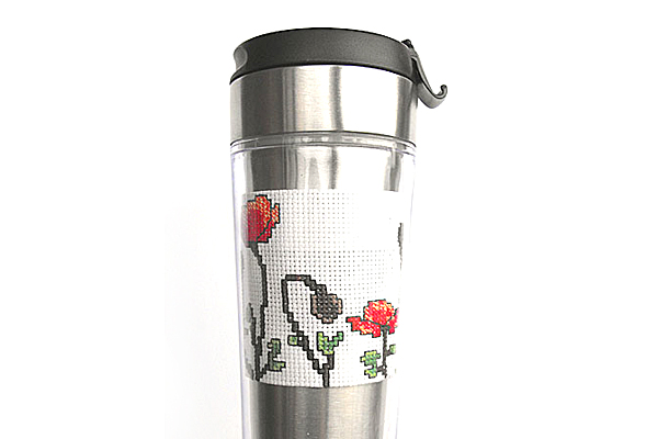 Poppy coffee sleeve back cross stitch