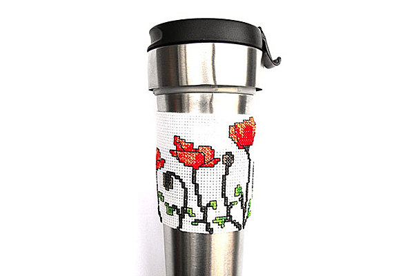 Poppy coffee sleeve front cross stitch