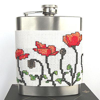 Poppy flask holder cross stitch
