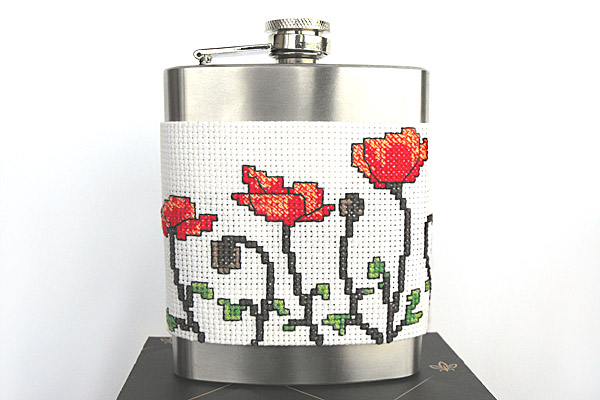 Poppy flask holder cross stitch