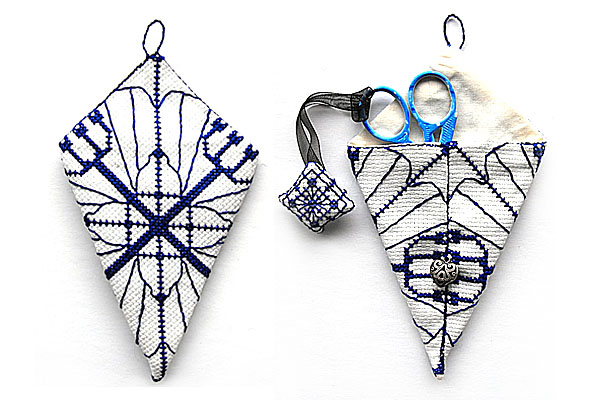 Scissor case and fob cross stitch set