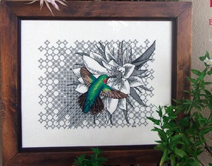 Valentina Sardu blackwork cross stitch hummingbird