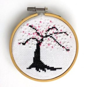 Cherry blossom French knots cross stitch pattern