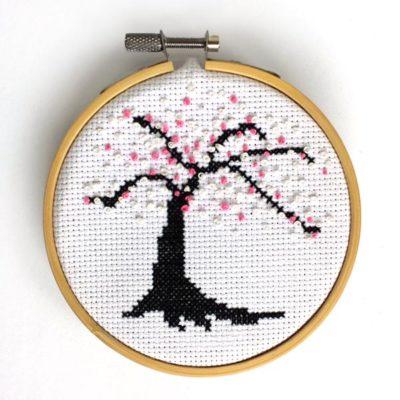 Cherry blossom French knots cross stitch pattern