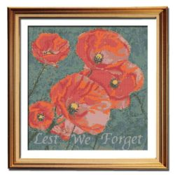 Flanders Field Poppies counted cross stitch pattern