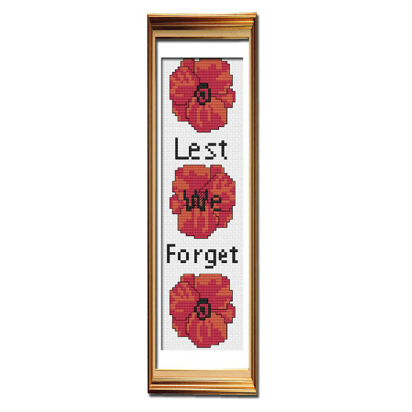 Lest We Forget cross stitch bookmark pattern