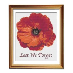 Lest We Forget poppy cross stitch pattern framed