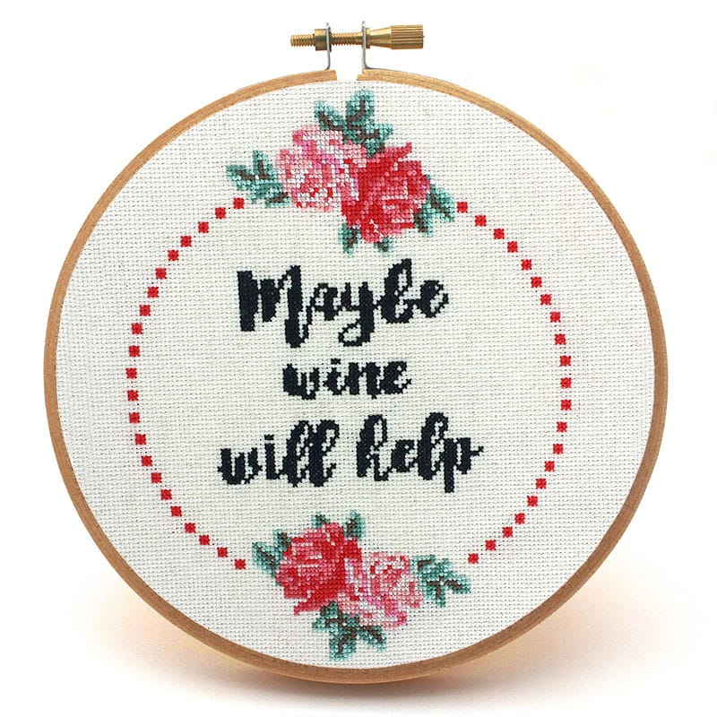 Maybe wine will help fun cross stitch