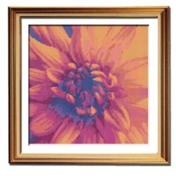 Orange Fire Dahlia cross stitch flower pattern