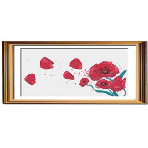 Poppies in the wind modern cross stitch pattern