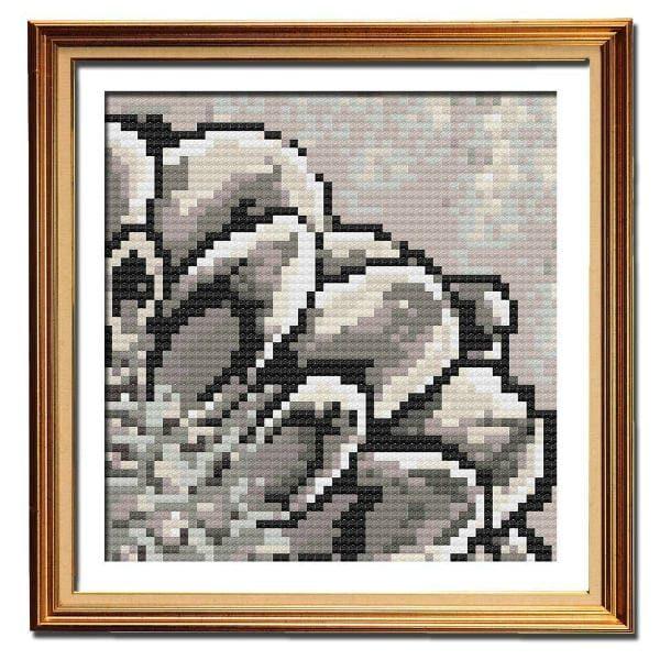 Rustic Dahlia 1 simple cross stitch pattern