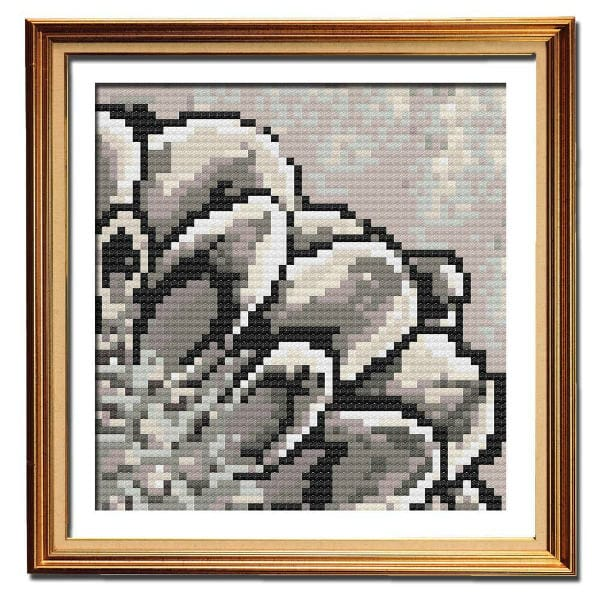 Rustic Dahlia 1 simple cross stitch pattern