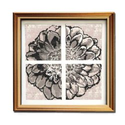 Rustic Dahlia - full gold framed cross stitch charts