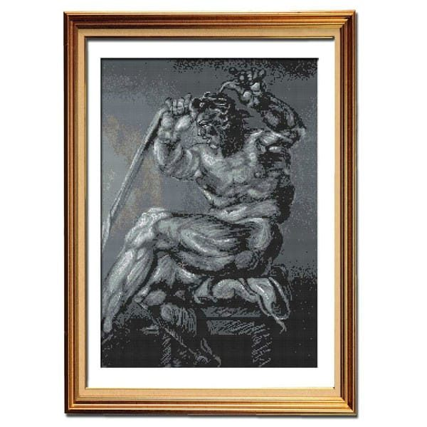 Shades of Strength cross stitch picture pattern framed