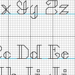 Backstitch alphabets detail