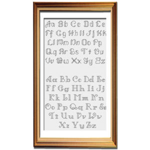 Backstitch alphabet cross stitch pattern
