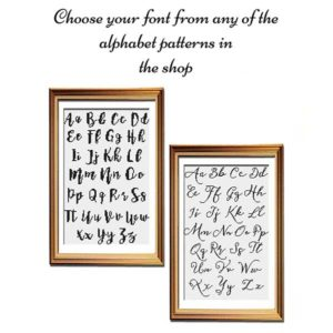 Custom alphabet cross stitch pattern