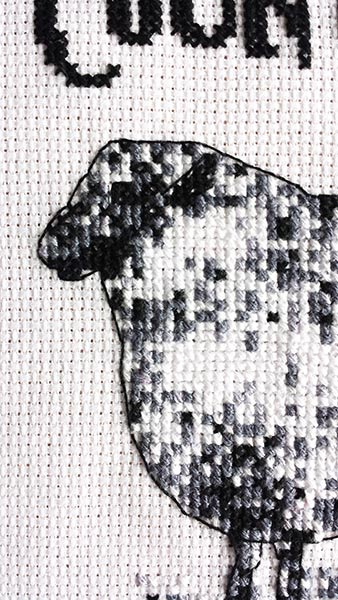 Count me baby sheep cross stitch pattern