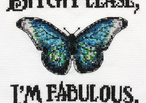 I'm Fabulous cross stitch pattern funny inspirational quote