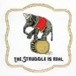 Struggle is real elephant cross stitch pattern