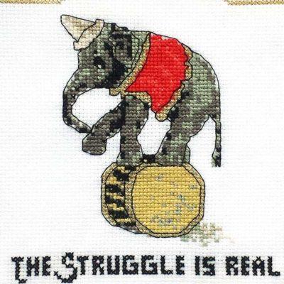 Struggle is real elephant cross stitch pattern