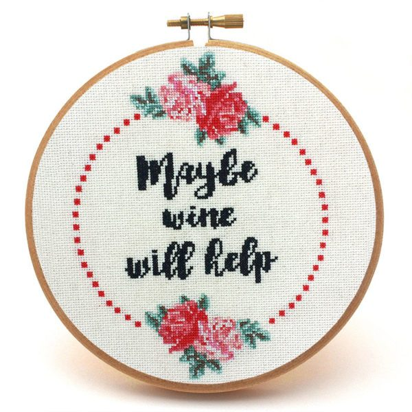 Maybe Wine Will Help wine cross stitch pattern