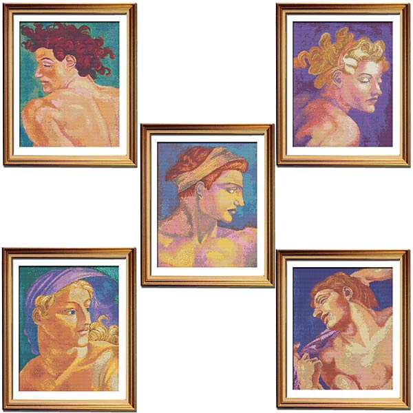 Michelangelo cross stitch pattern set