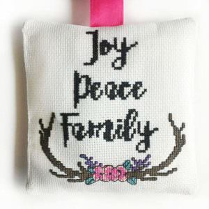 Joy Peace Family cross stitch ornament detail