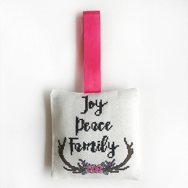 Joy Peace Family cross stitch ornament